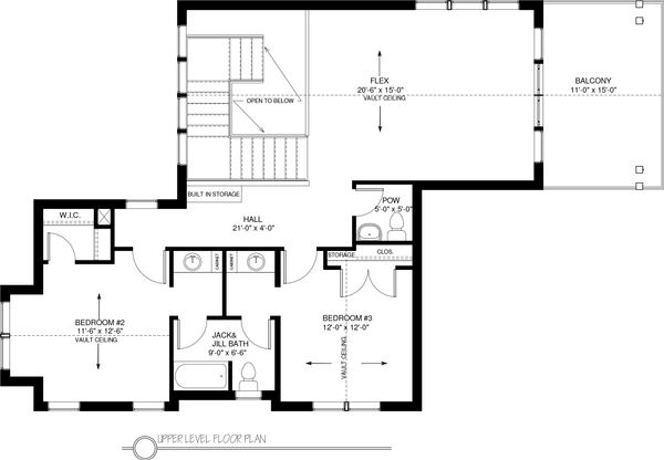 Traditional Floor Plan - Upper Floor Plan #895-59