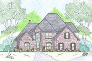 European Style House Plan - 4 Beds 2.5 Baths 3047 Sq/Ft Plan #36-472 Exterior - Front Elevation