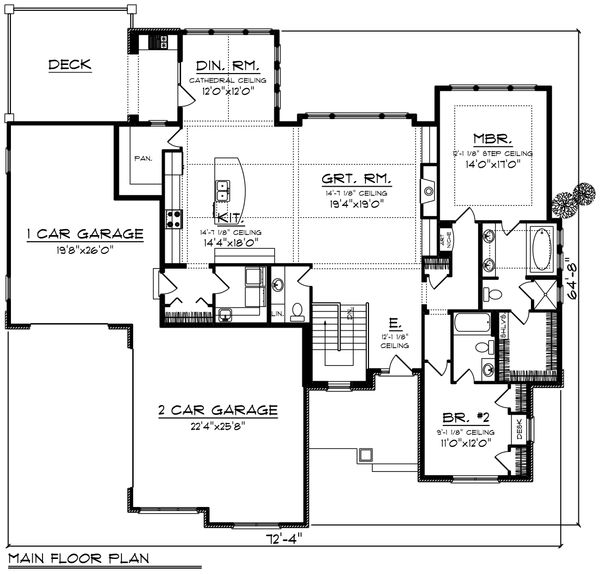 Ranch Floor Plan - Main Floor Plan Plan #70-1420