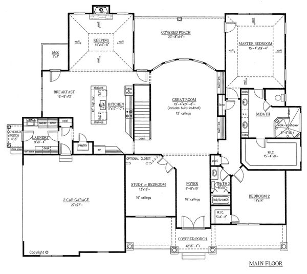 European Floor Plan - Main Floor Plan Plan #437-62