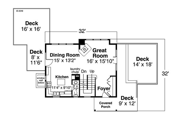 Contemporary Floor Plan - Main Floor Plan Plan #124-1169