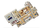 European Style House Plan - 4 Beds 2 Baths 2625 Sq/Ft Plan #25-4446 Floor Plan - Main Floor Plan