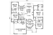 Traditional Style House Plan - 4 Beds 3 Baths 1864 Sq/Ft Plan #513-2062 Floor Plan - Main Floor Plan