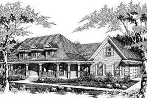 Southern Exterior - Front Elevation Plan #329-129