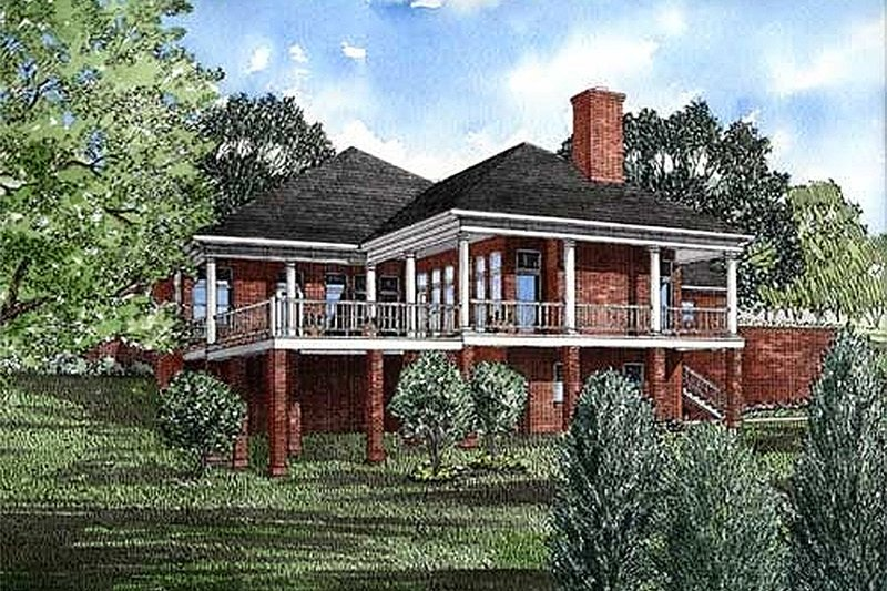 Traditional Style House Plan - 3 Beds 2.5 Baths 2607 Sq/Ft Plan #17-168 Exterior - Rear Elevation