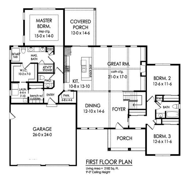 Dream House Plan - Ranch Floor Plan - Main Floor Plan #1010-242