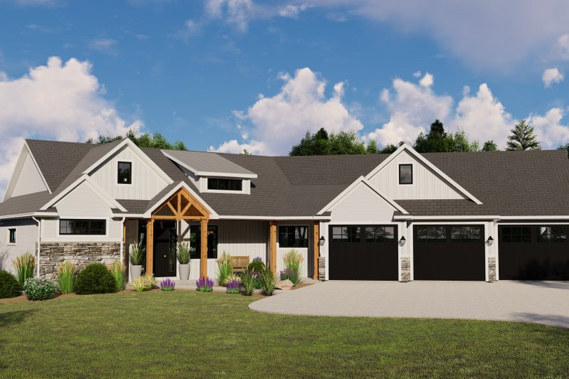 Architectural House Design - Craftsman Exterior - Front Elevation Plan #1064-130