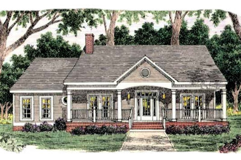Southern Exterior - Front Elevation Plan #406-263
