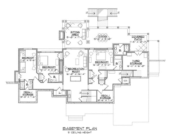 Traditional Floor Plan - Lower Floor Plan #1054-21