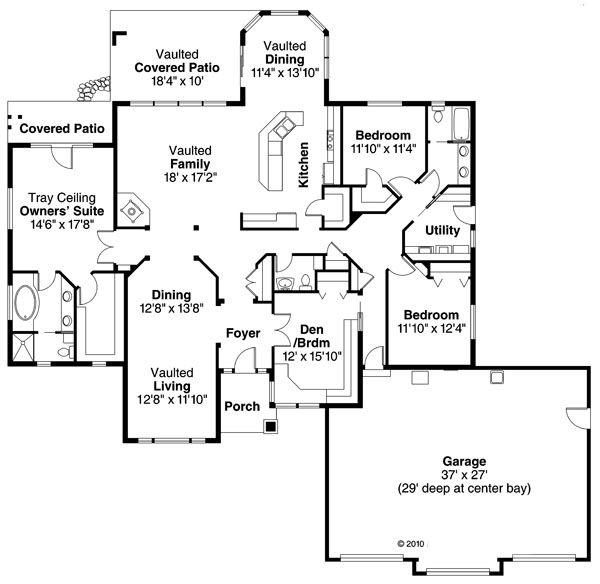 House Plan Design - Ranch Floor Plan - Main Floor Plan #124-858