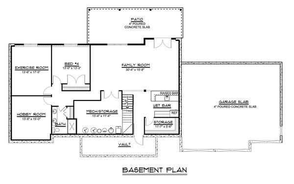 Craftsman Floor Plan - Lower Floor Plan Plan #1064-59