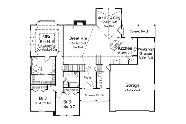 House Plan Design - Ranch Floor Plan - Main Floor Plan #57-654