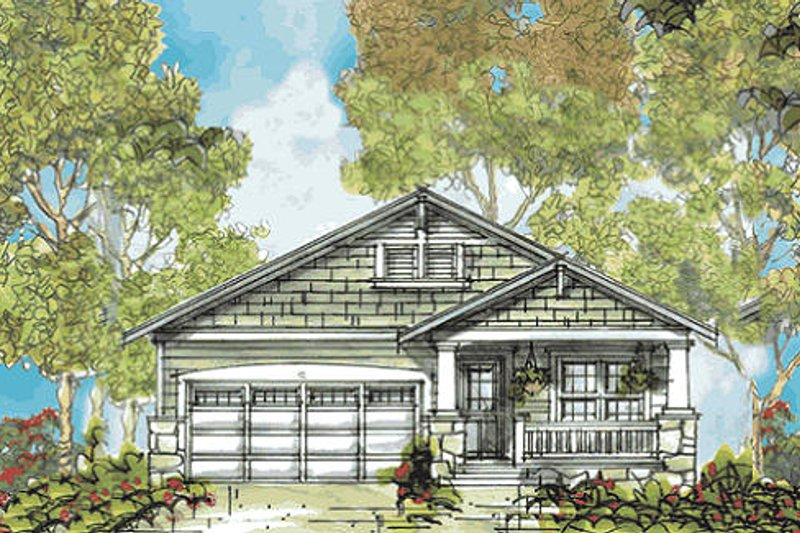 Architectural House Design - Bungalow Exterior - Front Elevation Plan #20-2139