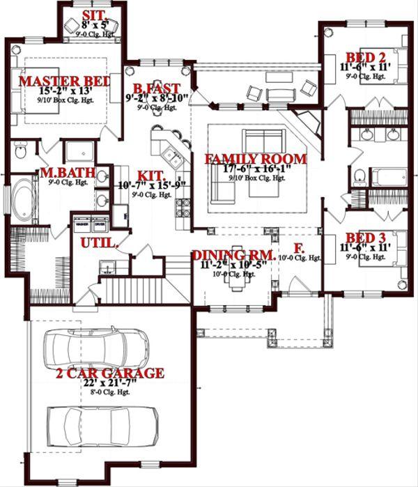 Traditional Floor Plan - Main Floor Plan Plan #63-352