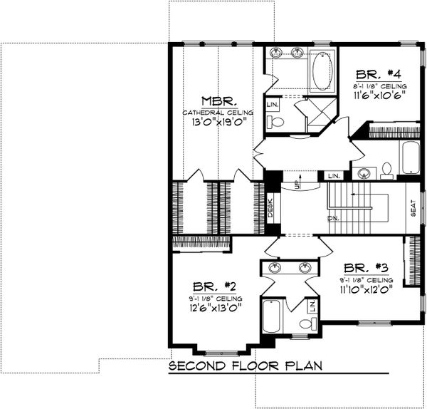 Traditional Floor Plan - Upper Floor Plan Plan #70-1038