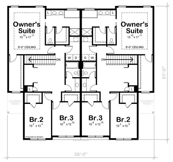 Dream House Plan - Traditional Floor Plan - Upper Floor Plan #20-2466