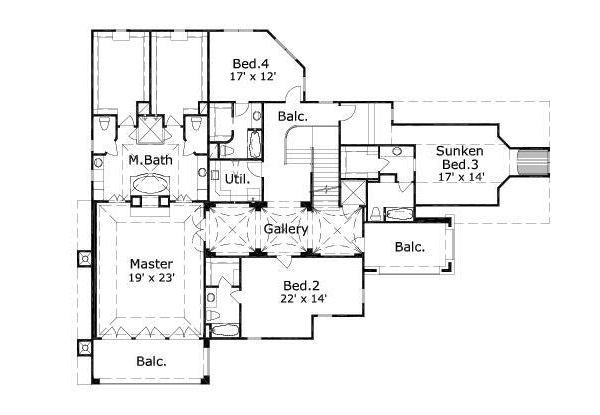 European Floor Plan - Upper Floor Plan #411-696