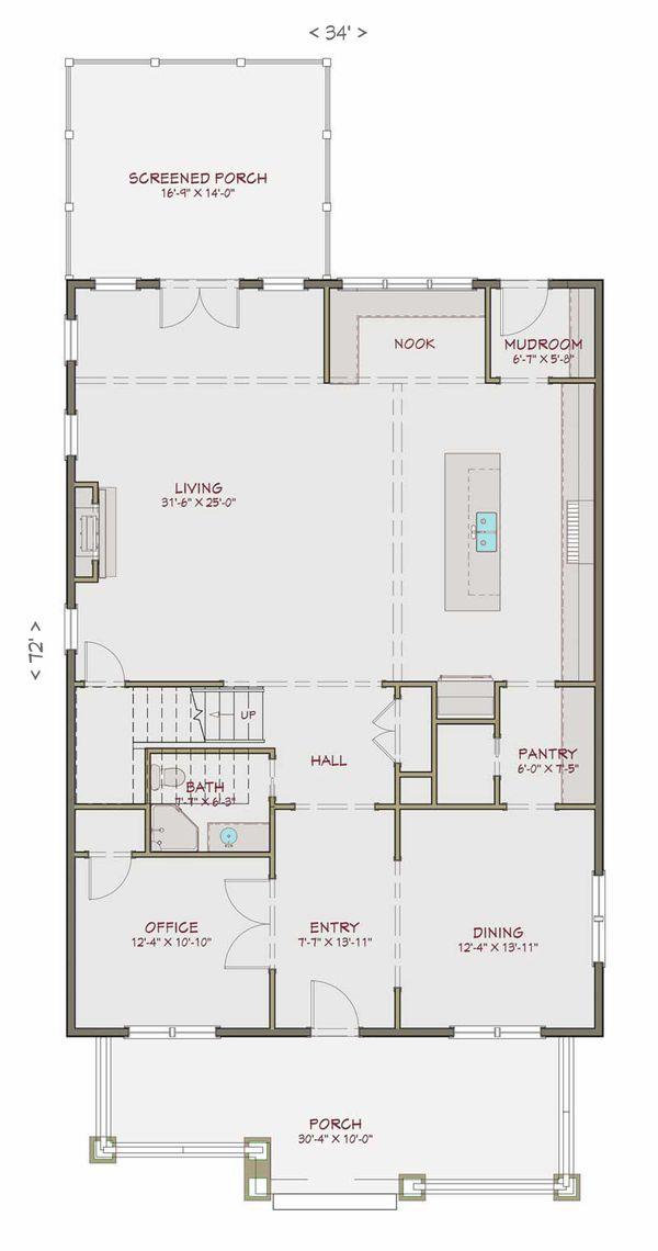 Craftsman Floor Plan - Main Floor Plan Plan #461-40