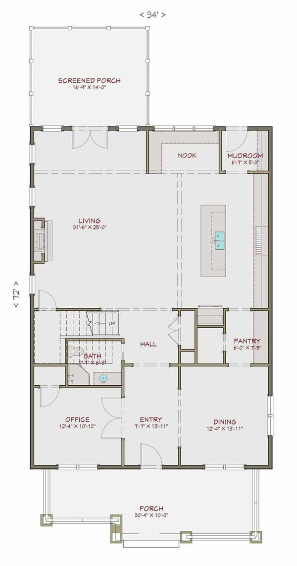 Craftsman Floor Plan - Main Floor Plan #461-40
