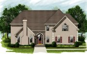 European Style House Plan - 4 Beds 3.5 Baths 3614 Sq/Ft Plan #56-227 Exterior - Front Elevation