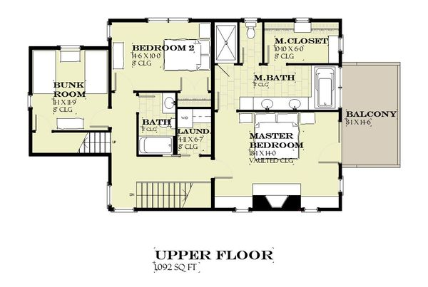Farmhouse Floor Plan - Upper Floor Plan Plan #901-140