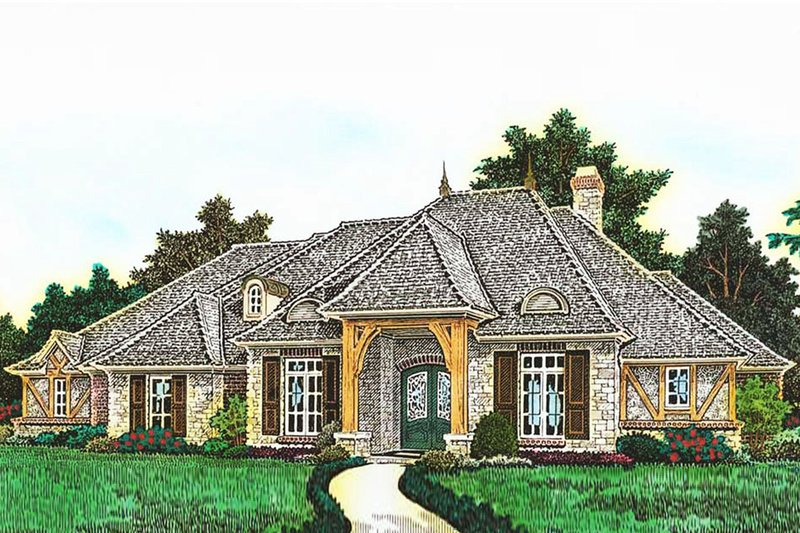 European Style House Plan - 4 Beds 3.5 Baths 3003 Sq/Ft Plan #310-1282 Exterior - Front Elevation