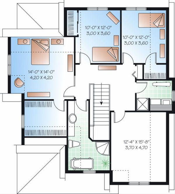 Farmhouse Floor Plan - Upper Floor Plan Plan #23-719