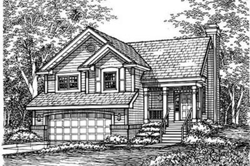 Traditional Style House Plan - 2 Beds 2 Baths 1315 Sq/Ft Plan #50-153 Exterior - Front Elevation
