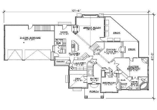 Architectural House Design - Traditional Floor Plan - Main Floor Plan #5-470