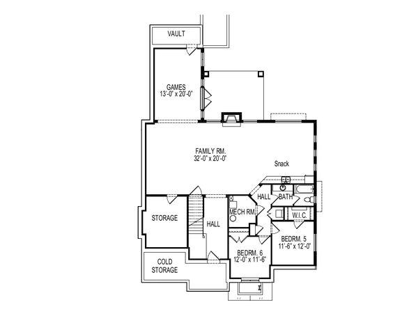 Bungalow Floor Plan - Lower Floor Plan Plan #920-99