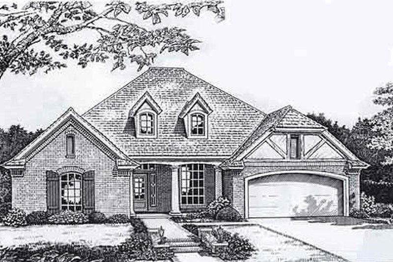 European Style House Plan - 3 Beds 2.5 Baths 2082 Sq/Ft Plan #310-924 Exterior - Front Elevation