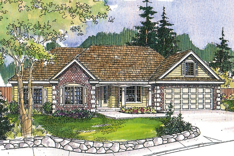 Ranch Exterior - Front Elevation Plan #124-1139