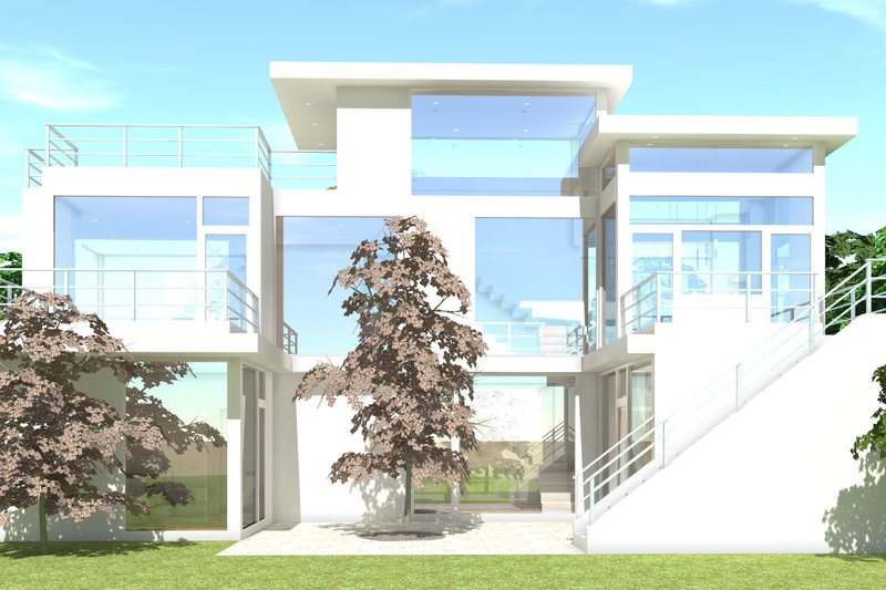 Modern Exterior - Rear Elevation Plan #64-219 - Houseplans.com