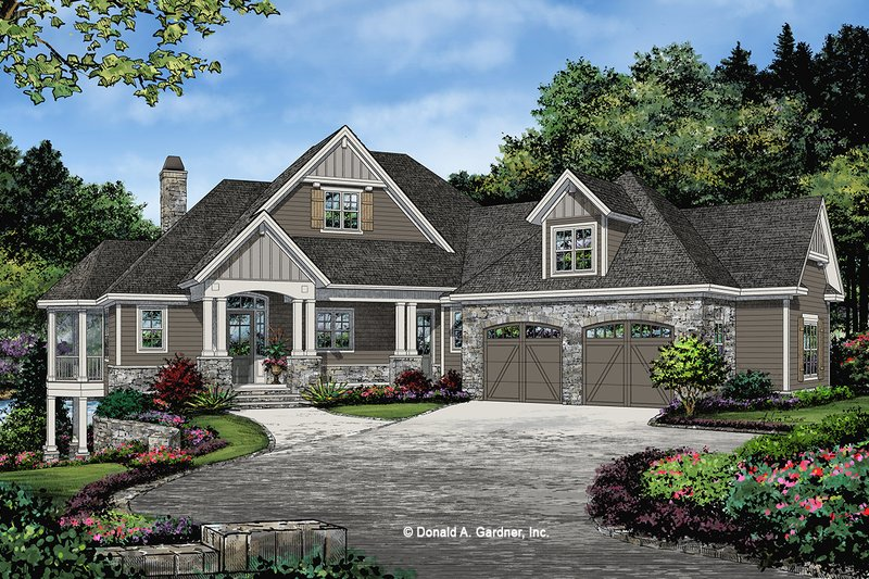 Craftsman Style House Plan - 3 Beds 2.5 Baths 2530 Sq/Ft Plan #929-1103 Exterior - Front Elevation