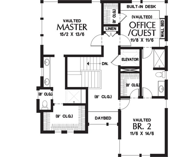 Contemporary Floor Plan - Upper Floor Plan #48-656