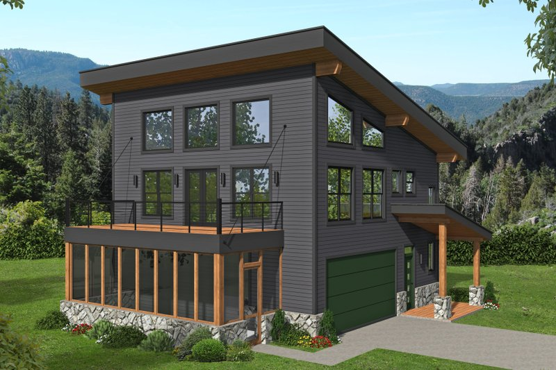 House Blueprint - Contemporary Exterior - Front Elevation Plan #932-435