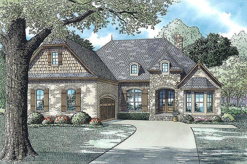 European Style House Plan - 4 Beds 3 Baths 2546 Sq/Ft Plan #17-2482