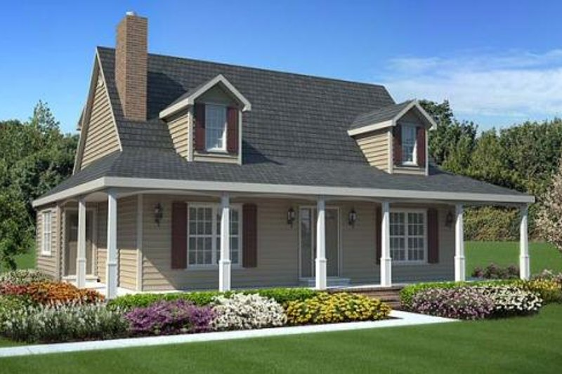 Country Style House Plan - 3 Beds 2.5 Baths 1560 Sq/Ft Plan #312-532 Exterior - Front Elevation