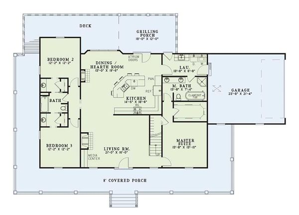 Home Plan - Country Floor Plan - Main Floor Plan #17-2594
