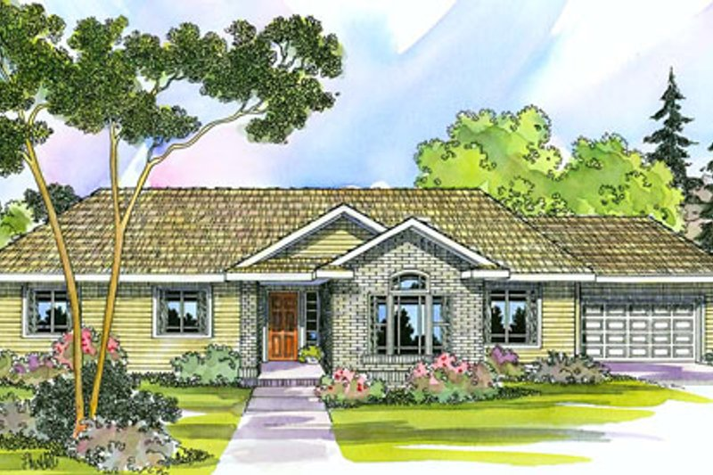 Ranch Style House Plan - 4 Beds 2 Baths 2086 Sq/Ft Plan #124-394 Exterior - Front Elevation
