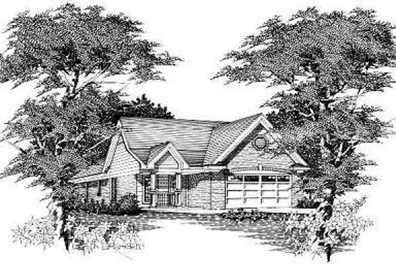 European Style House Plan - 3 Beds 2 Baths 1040 Sq/Ft Plan #329-157 Exterior - Front Elevation