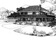 Country Style House Plan - 3 Beds 3.5 Baths 2598 Sq/Ft Plan #303-120 Exterior - Front Elevation