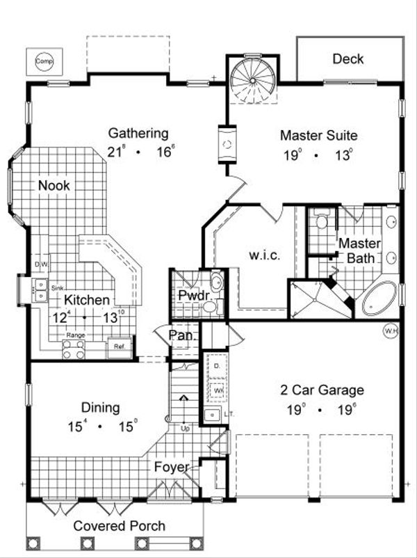 European Floor Plan - Main Floor Plan Plan #417-356