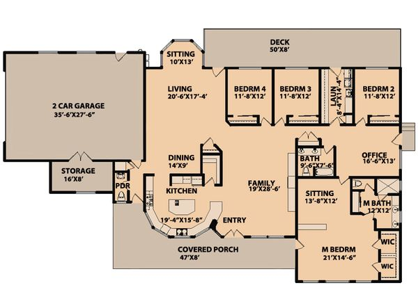 Ranch Floor Plan - Main Floor Plan #515-9