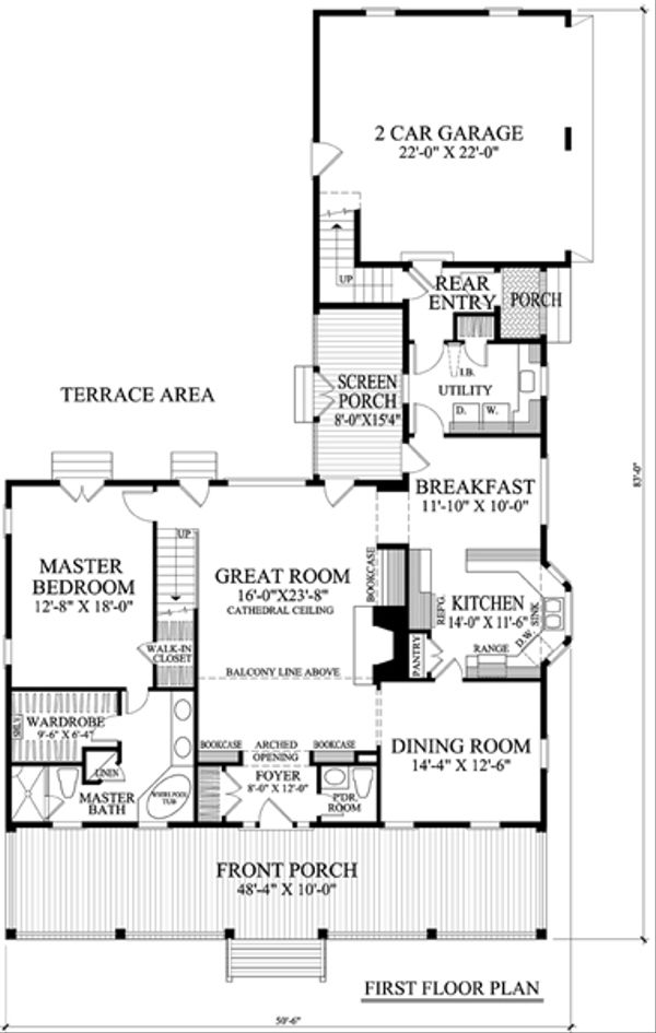 Southern Floor Plan - Main Floor Plan Plan #137-265