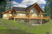 Cabin Style House Plan - 2 Beds 3 Baths 3304 Sq/Ft Plan #117-512 Exterior - Front Elevation