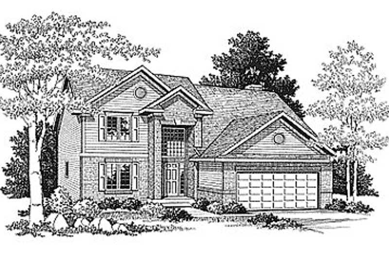 Traditional Style House Plan - 4 Beds 2.5 Baths 2106 Sq/Ft Plan #70-302 Exterior - Front Elevation