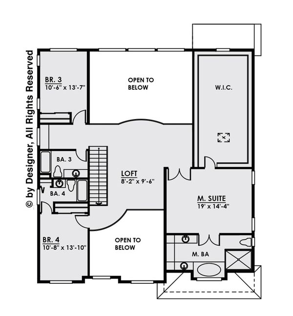 Contemporary Floor Plan - Upper Floor Plan Plan #1066-12