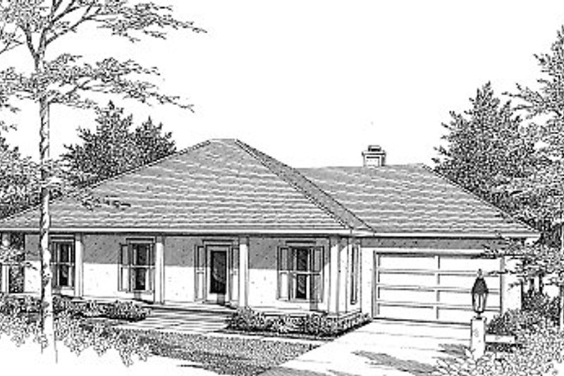 Southern Style House Plan - 4 Beds 2 Baths 1676 Sq/Ft Plan #14-119 Exterior - Front Elevation