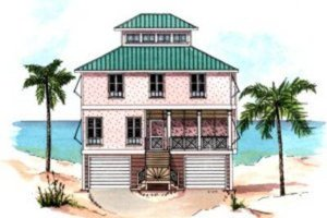 Architectural House Design - Beach Exterior - Front Elevation Plan #37-159